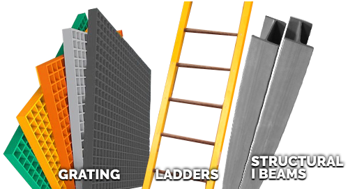 5 colors of Molded Fiberglass grating, Yellow FRP ladder, and Dark Gray FRP structural beams